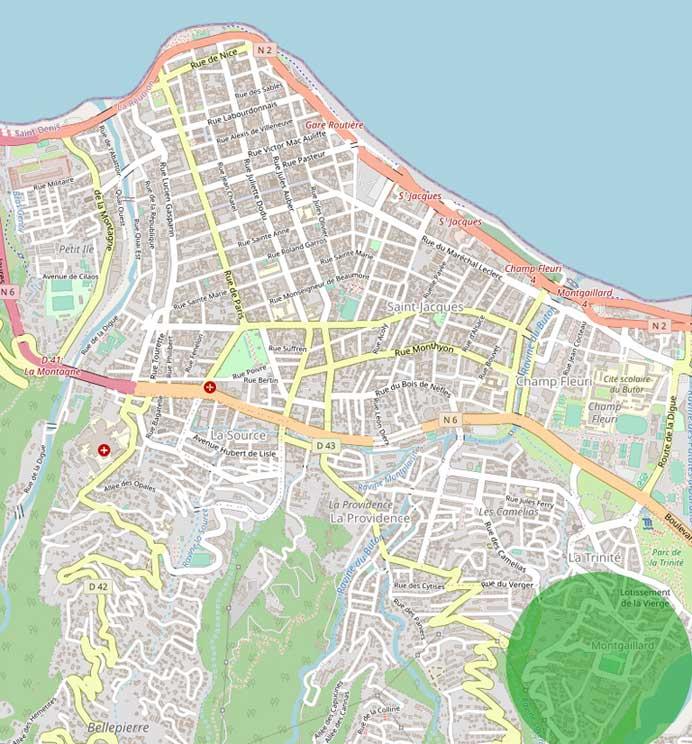 Le quartier de Montgaillard est à proximité du centre de Saint Denis et dispose d'un accès à la voie rapide.