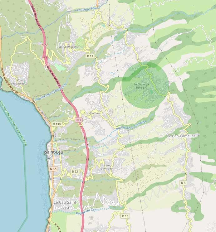 Le quartier de la Chaloupe couvre les pentes situées au nord de la ville de Saint-Leu