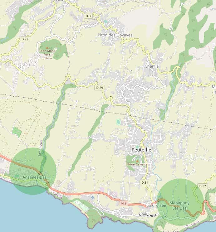 Les quartiers de Anse-les-Bas et Manapany-les-Bas à Petite Îlee à Petite Île .