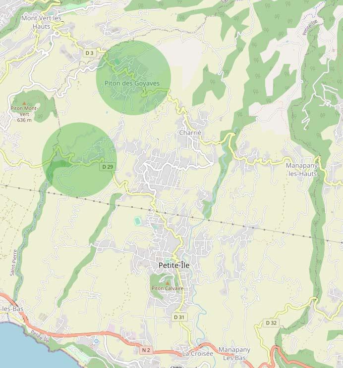 Les quartiers du Piton-Goyaves et de Anse-les-Hauts à Petite Île Petite Île île de la Réunion.