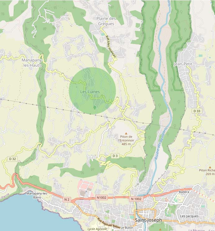 Les Lianes Quartier de la ville de Saint-Joseph, il englobe aussi les quartiers de Carrosse et Bézaves