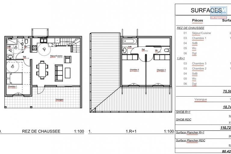 14 Villas 4 pièces en construction (VEFA) Piton St Leu - Villa type 1