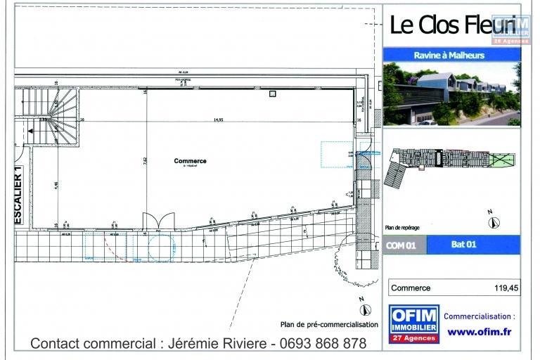 A vendre local commercial neuf de 119m² dans un environnement paisible à la Posséssion