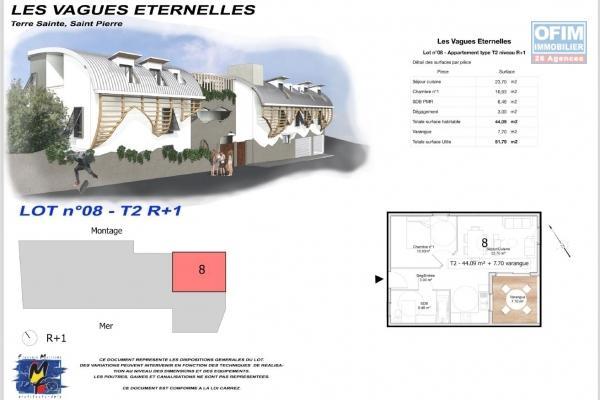 Appartement T2 en VEFA à Étang Salé les Bains en cours de construction à 100 m de la plage.