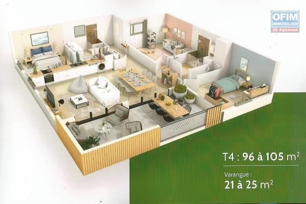 Appartement de 135 m² avec deux varangues pleine vue mer, plein centre ville de St Leu, proche de la gendarmerie à 2 min à pieds de la plage, situé au premier étage.