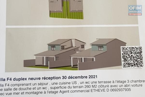 Superbe Villa  F4 neuve duplex / terrasse sur terrain 250 m2 Saint Pierre - Ravine des Cabris